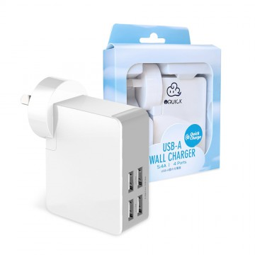 4 Ports USB AC Wall Charger Adapter for iPhone Galaxy 5.4Amp