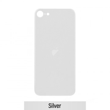 Rear Glass Replacement with Bigger Size Camera Cut-out for iPhone SE (2020)-Silver