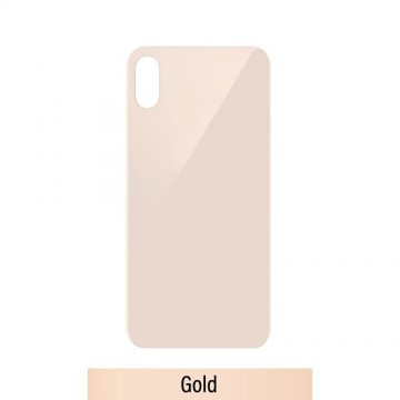 Rear Glass Replacement with Bigger Size Camera Hole Carving for iPhone XS-Gold